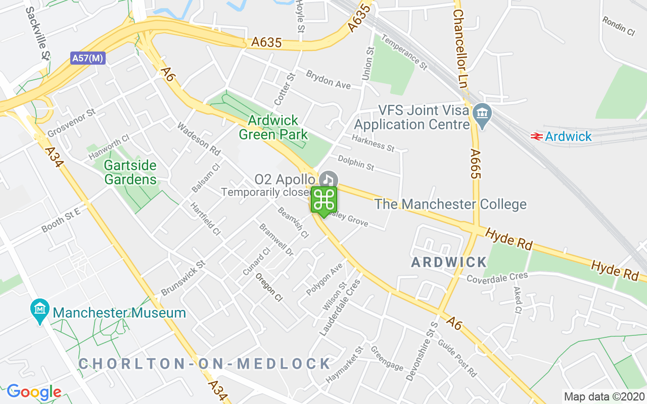 Map showing location of Apollo Manchester