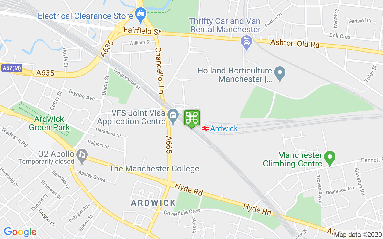 Map showing location of Ardwick Train Station