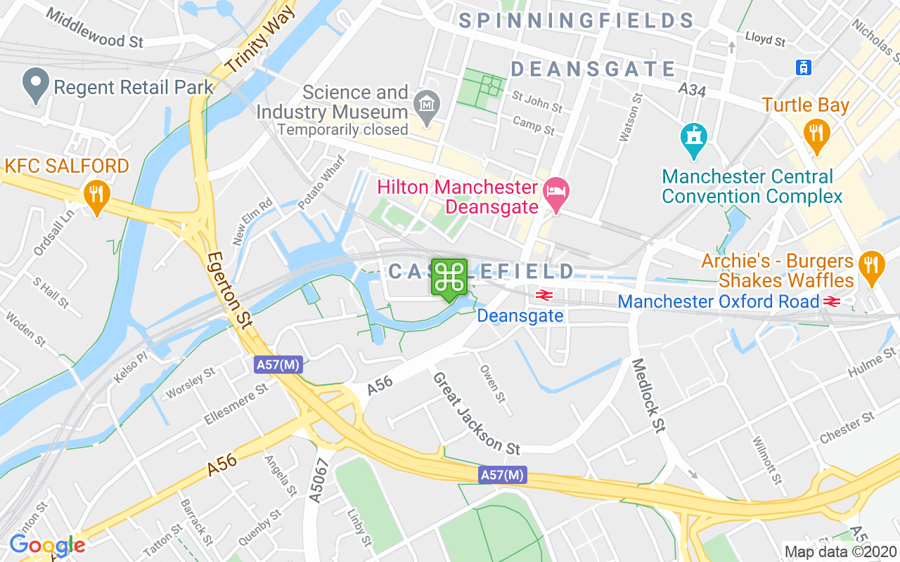 Map showing location of Rochdale Canal
