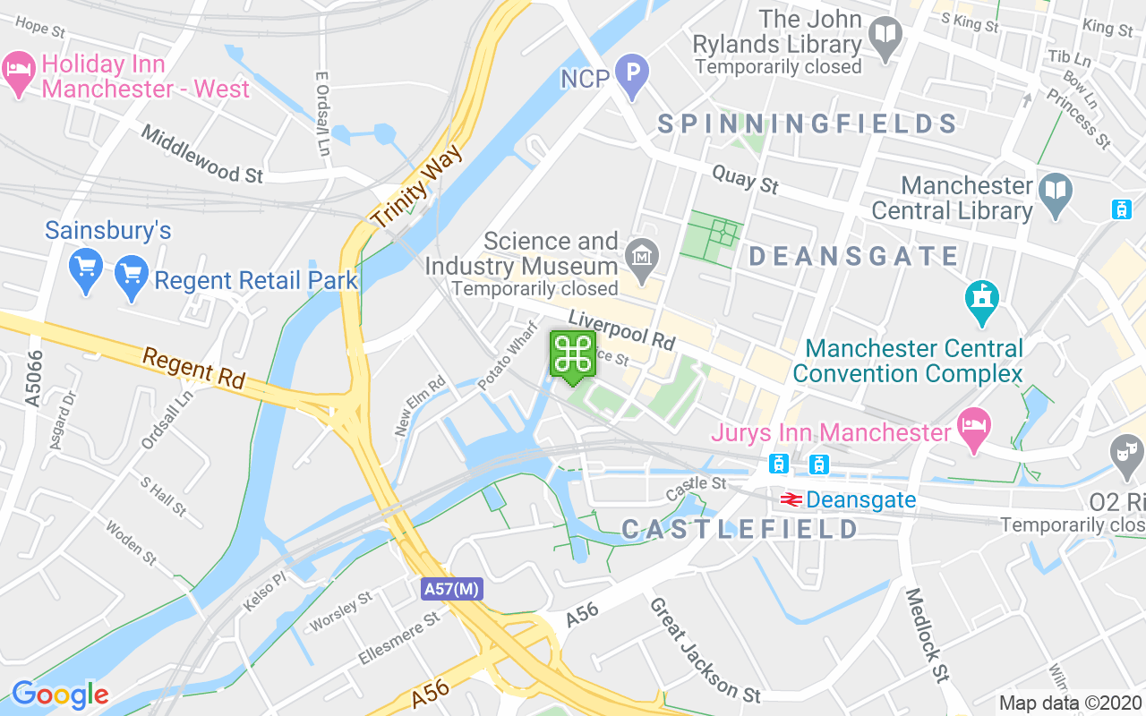 Map showing location of Castlefield Bowl