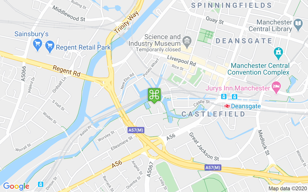 Map showing location of Castlefield Basin