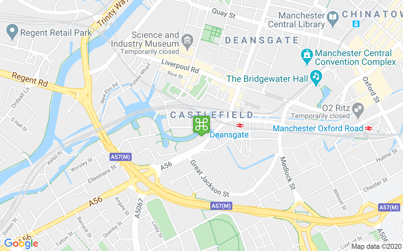 Map showing location of Bridgewater Canal
