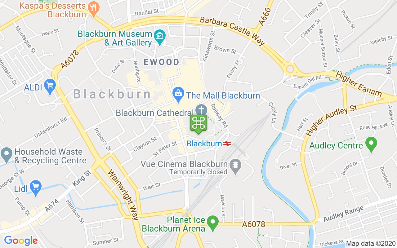 Map showing location of Blackburn Cathedral