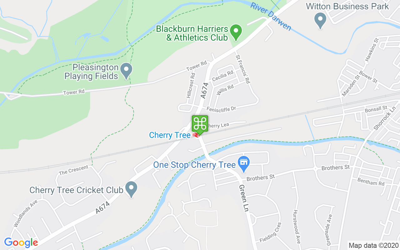 Map showing location of Cherry Tree Station