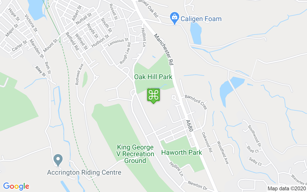 Map showing location of Oak Hill Park