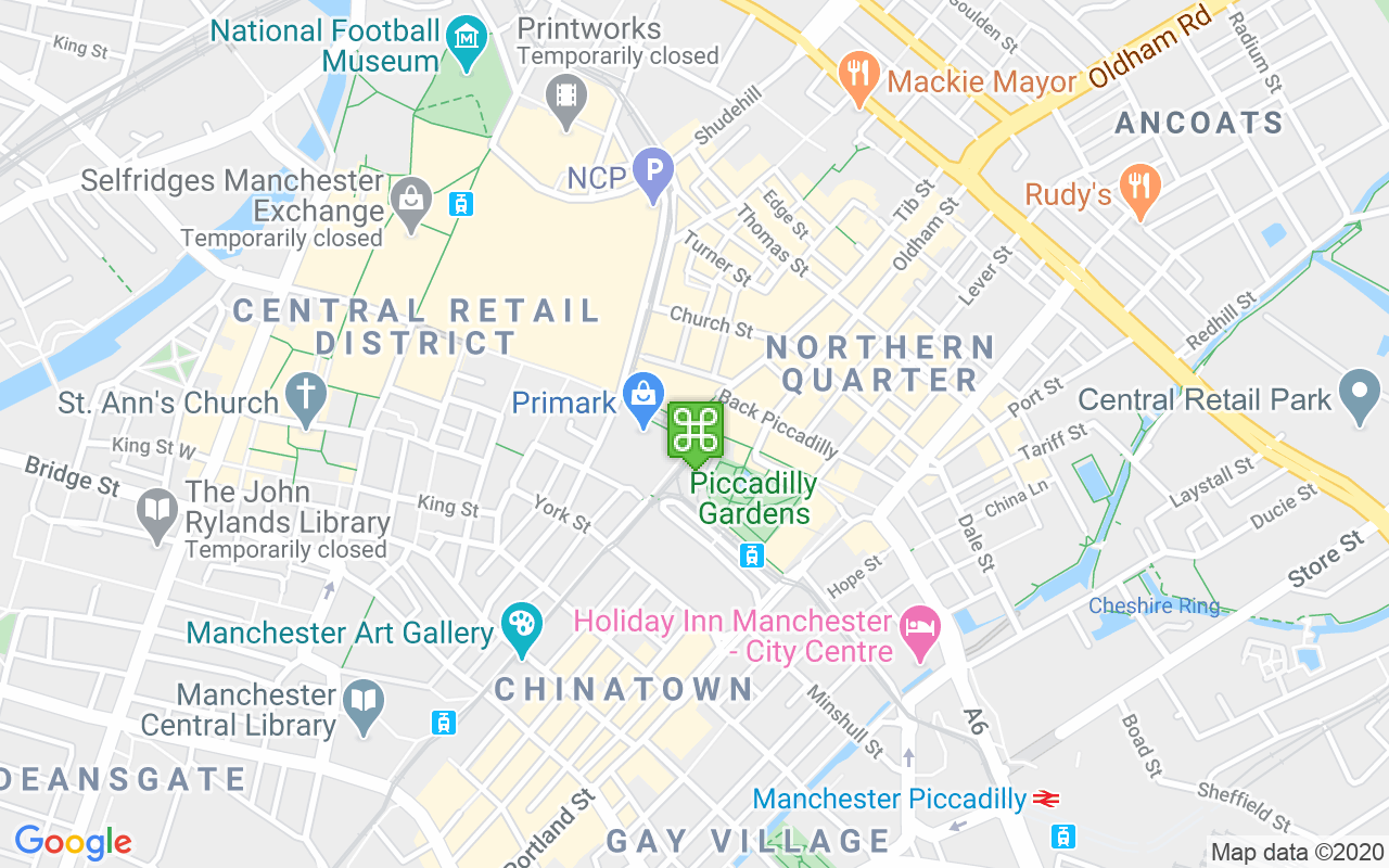 Map showing location of Market Street