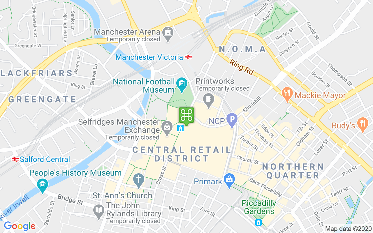 Map showing location of Corporation Street