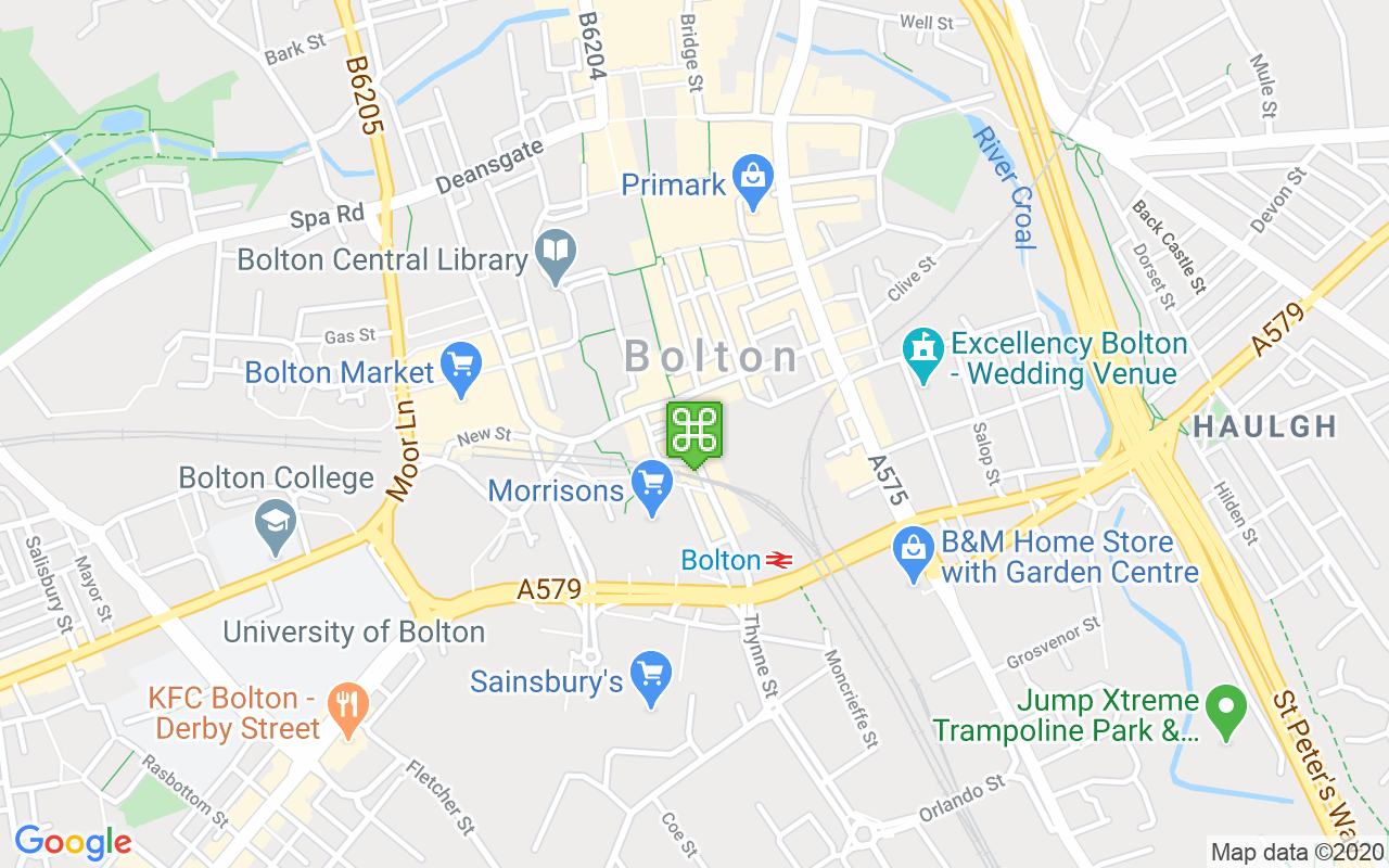 Map showing location of Bolton Interchange