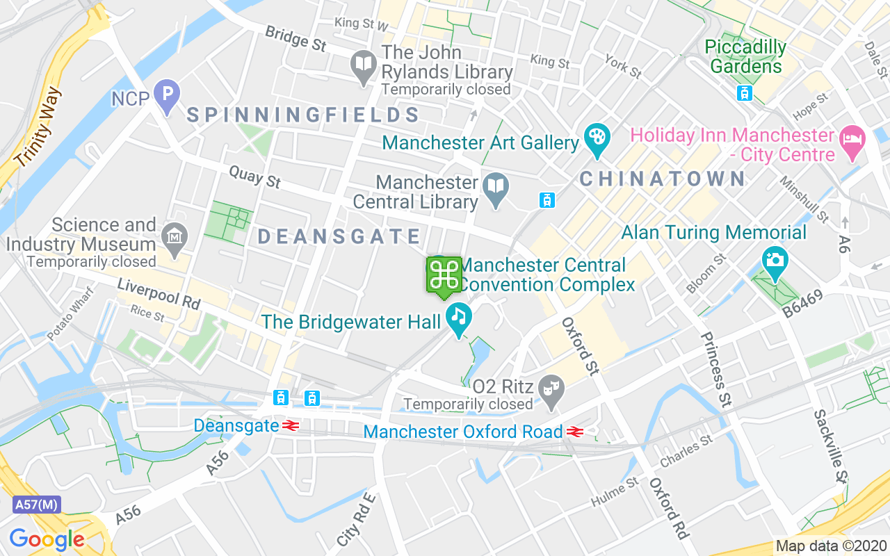 Map showing location of Manchester Central