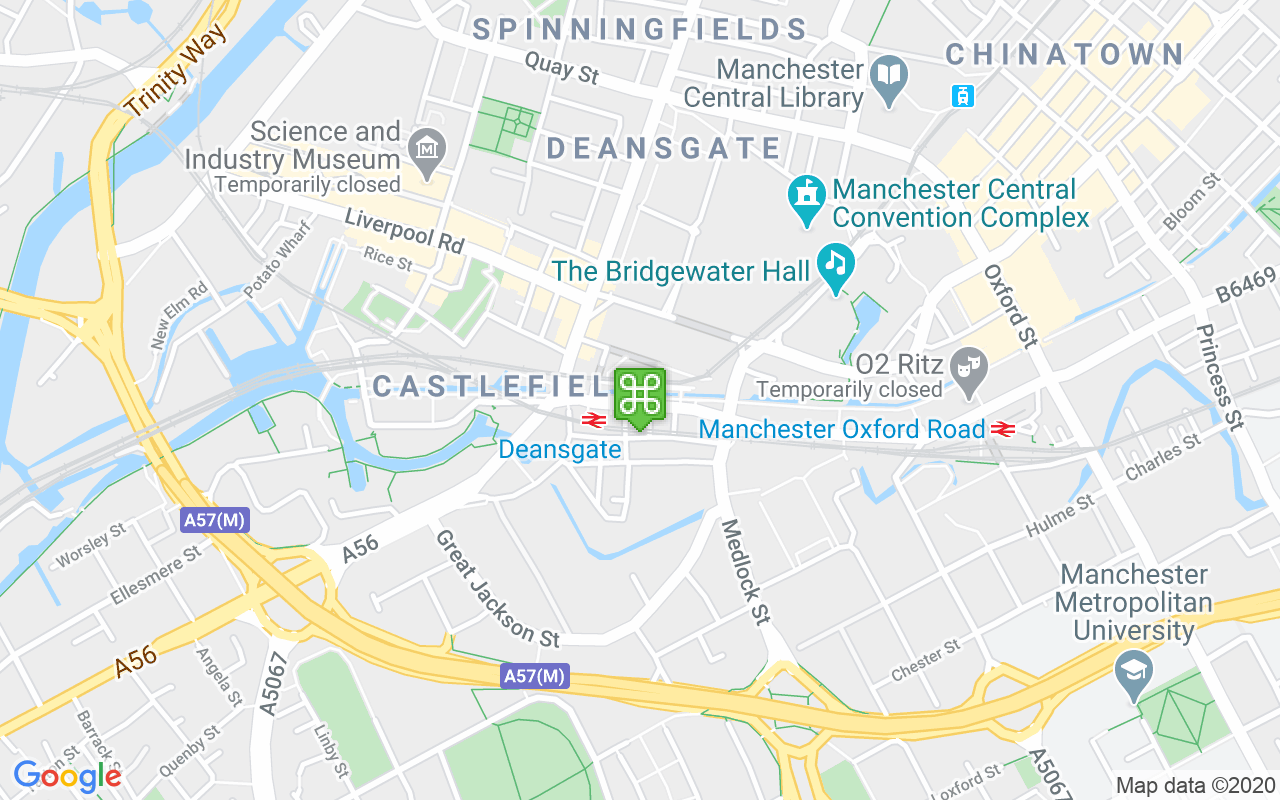Map showing location of Deansgate Locks
