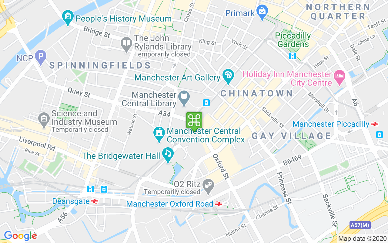 Map showing location of St Peter's Square