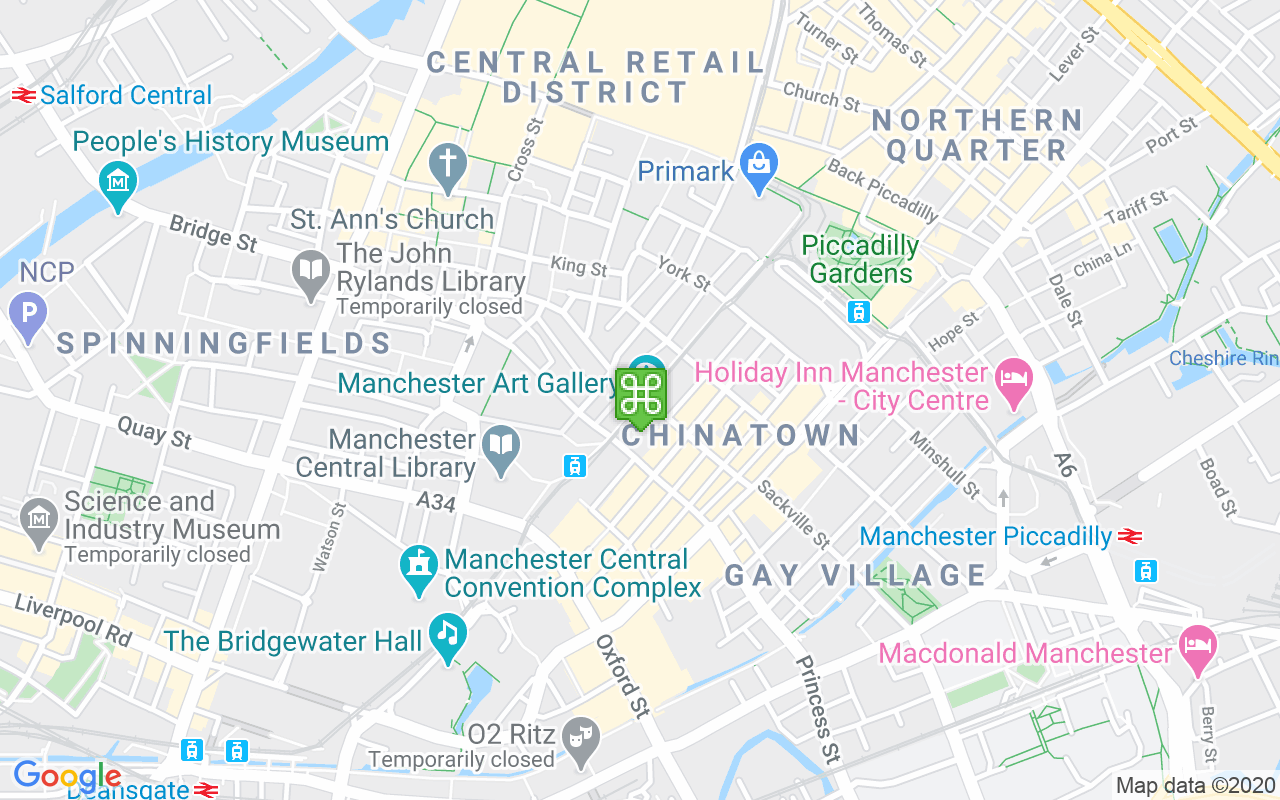 Map showing location of Manchester Art Gallery