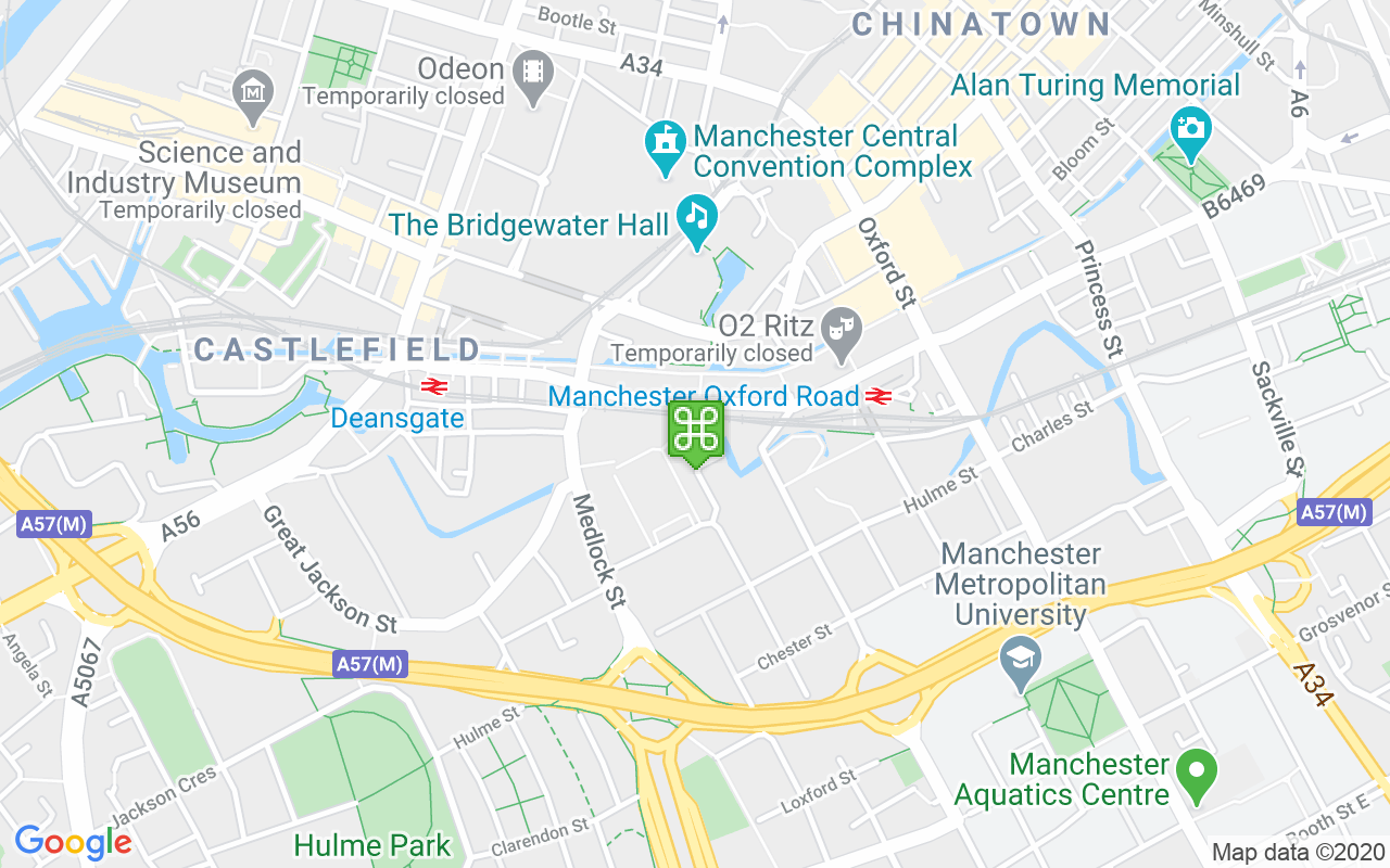 Map showing location of Starbucks