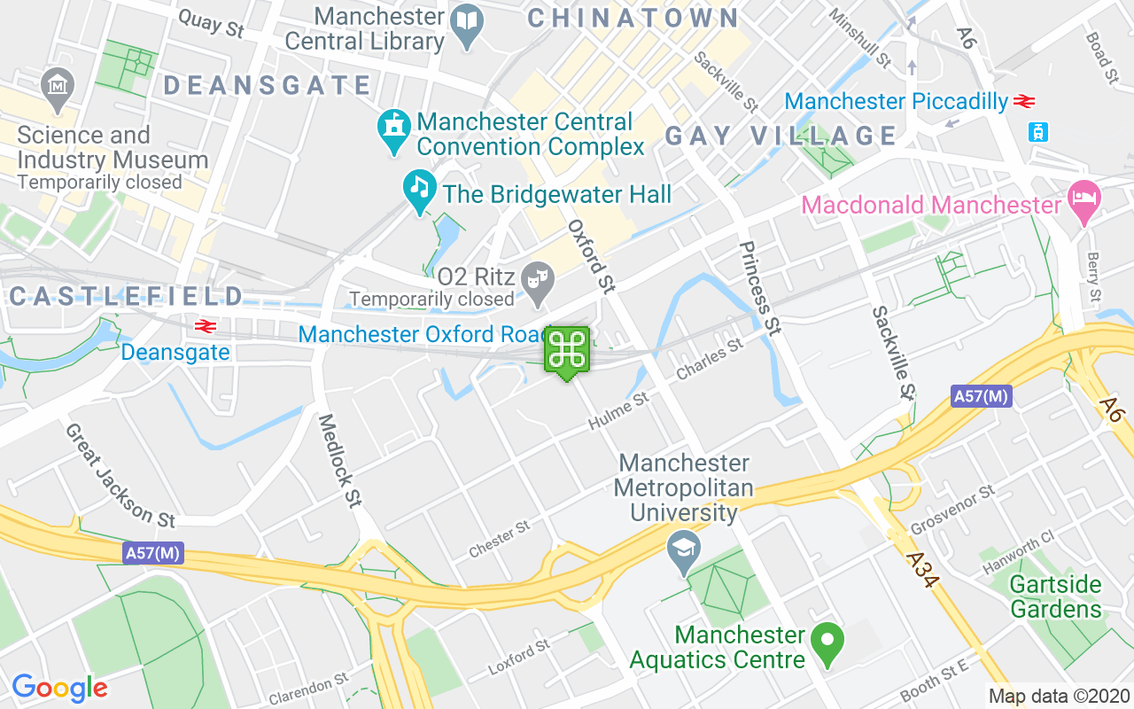 Map showing location of Manchester Oxford Road Train Station