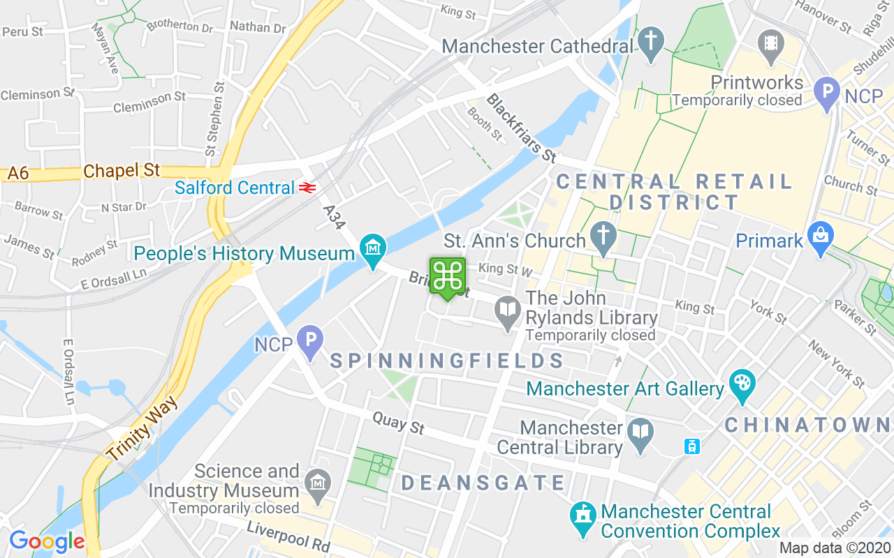 Map showing location of Manchester Hall