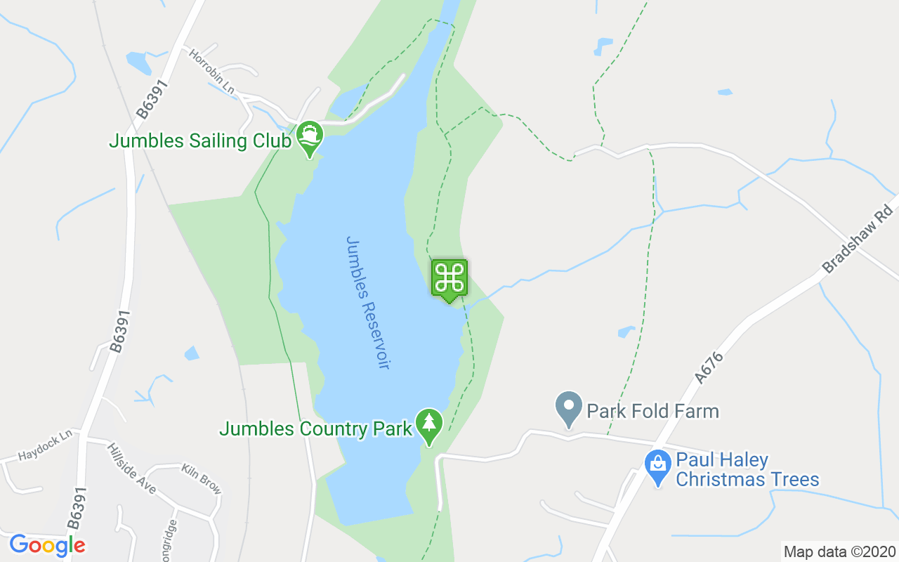 Map showing location of Jumbles Country Park