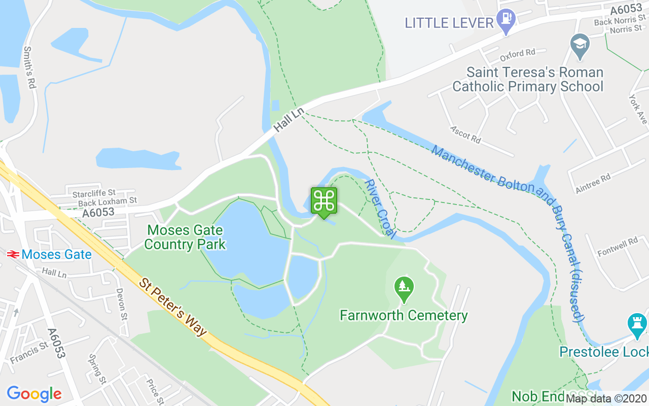 Map showing location of Moses Gate Country Park