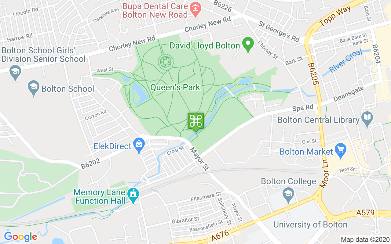 Map showing location of Queens Park