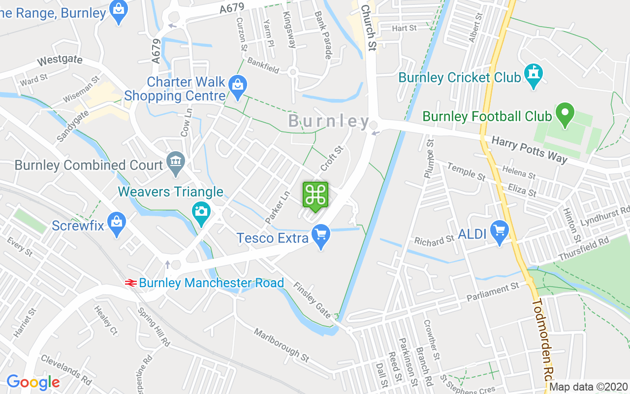 Map showing location of Burnley Library