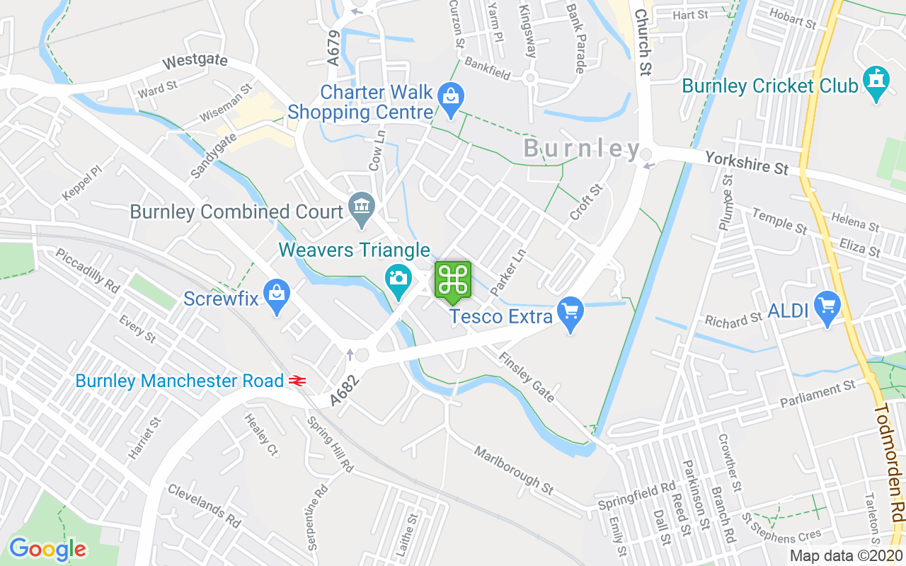 Map showing location of Burnley Town Hall