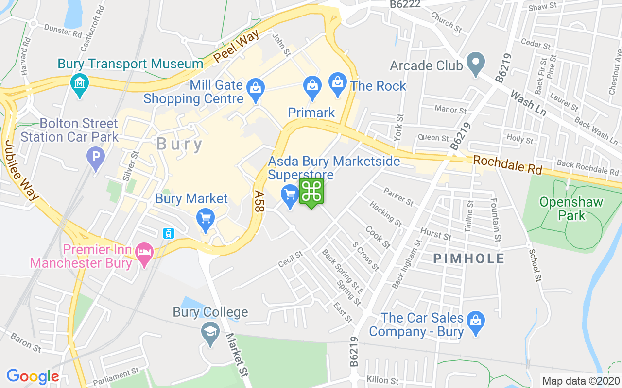 Map showing location of Halls Mill Retail Park