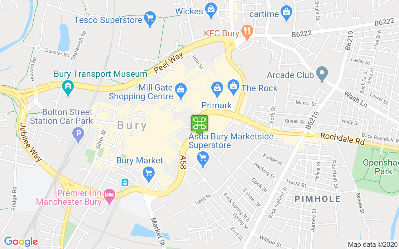 Map showing location of Mill Gate Shopping Centre