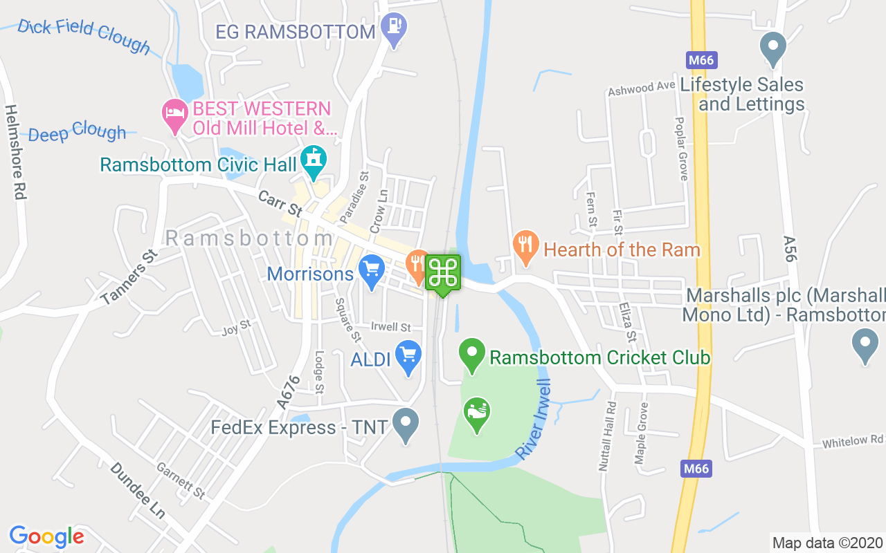 Map showing location of Ramsbottom Train Station
