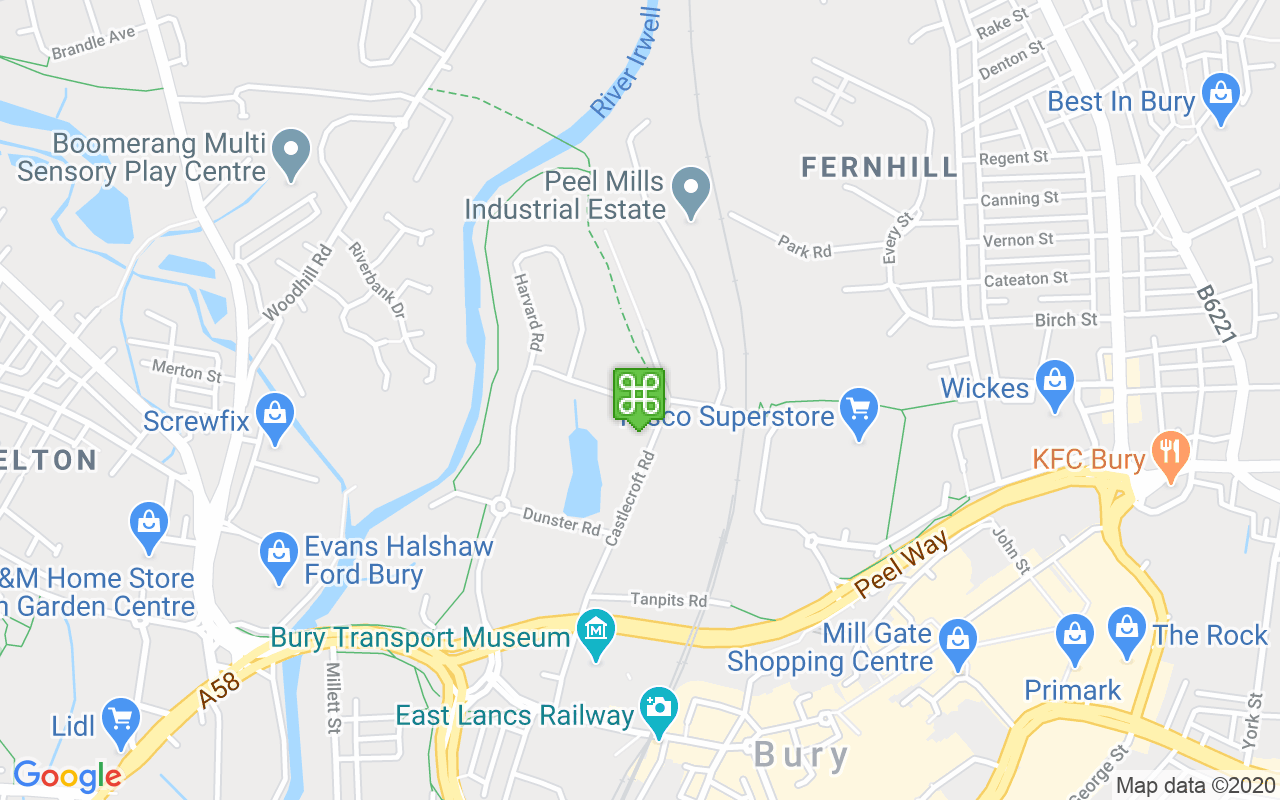 Map showing location of Bury Community Fire Station