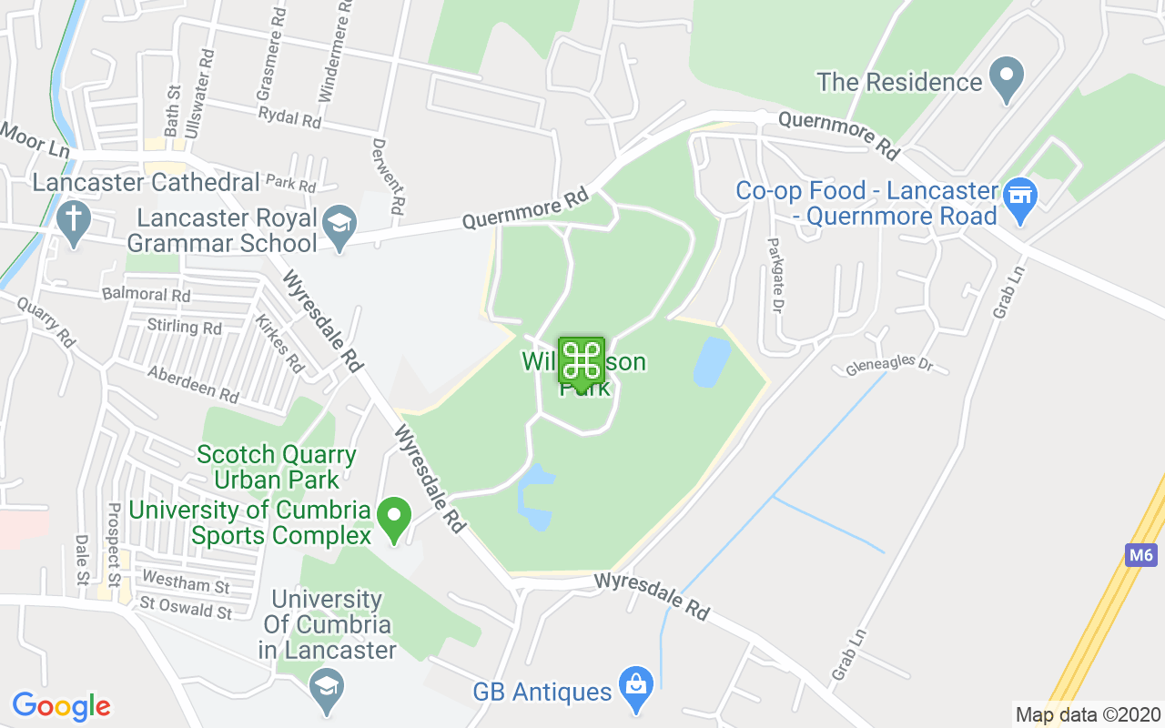 Map showing location of Williamson Park