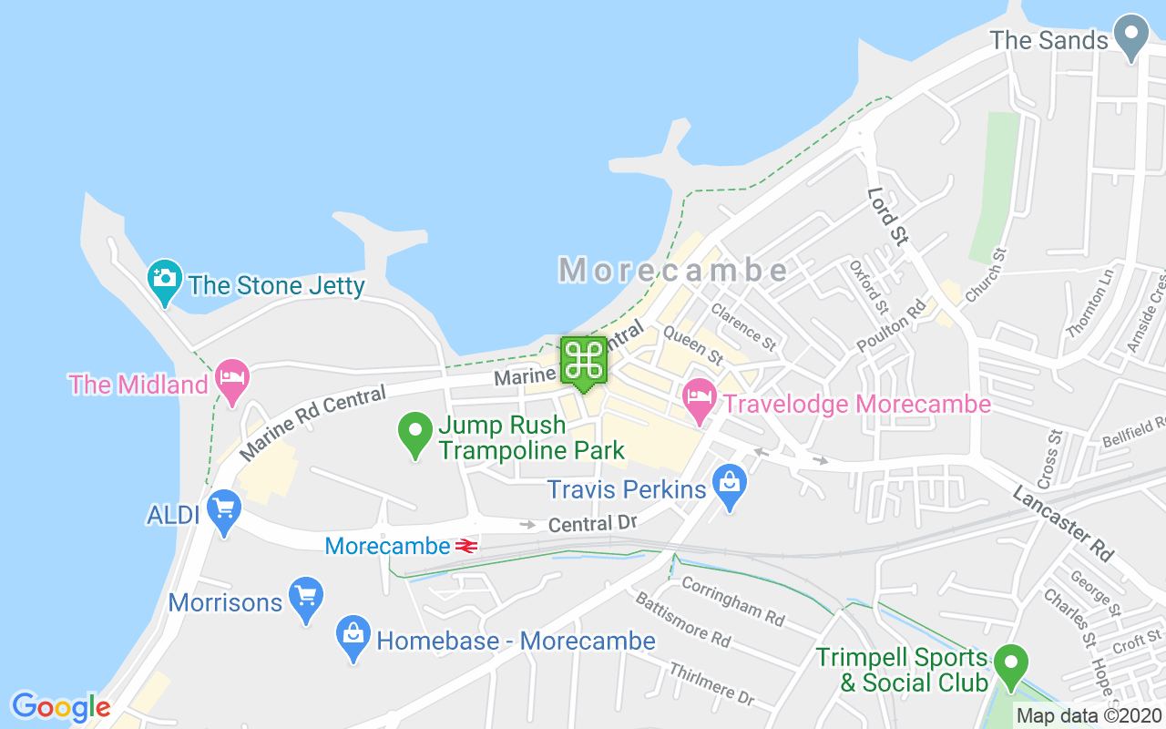 Map showing location of Eric Morecambe Statue