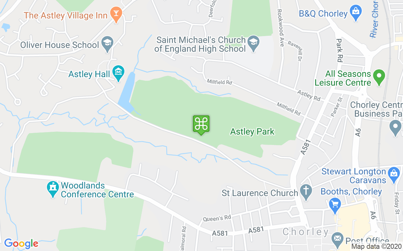 Map showing location of Astley Park