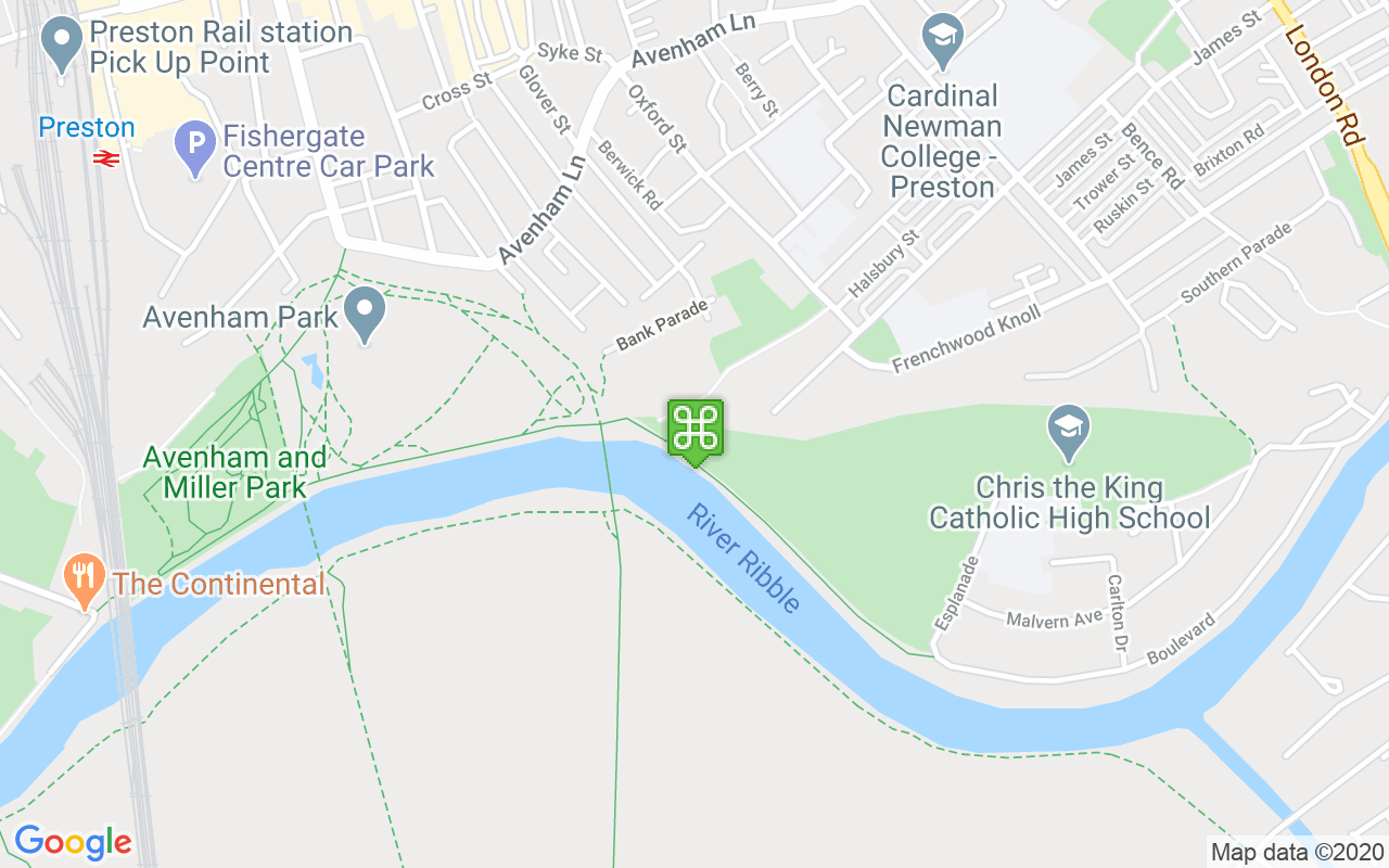 Map showing location of Avenham Park