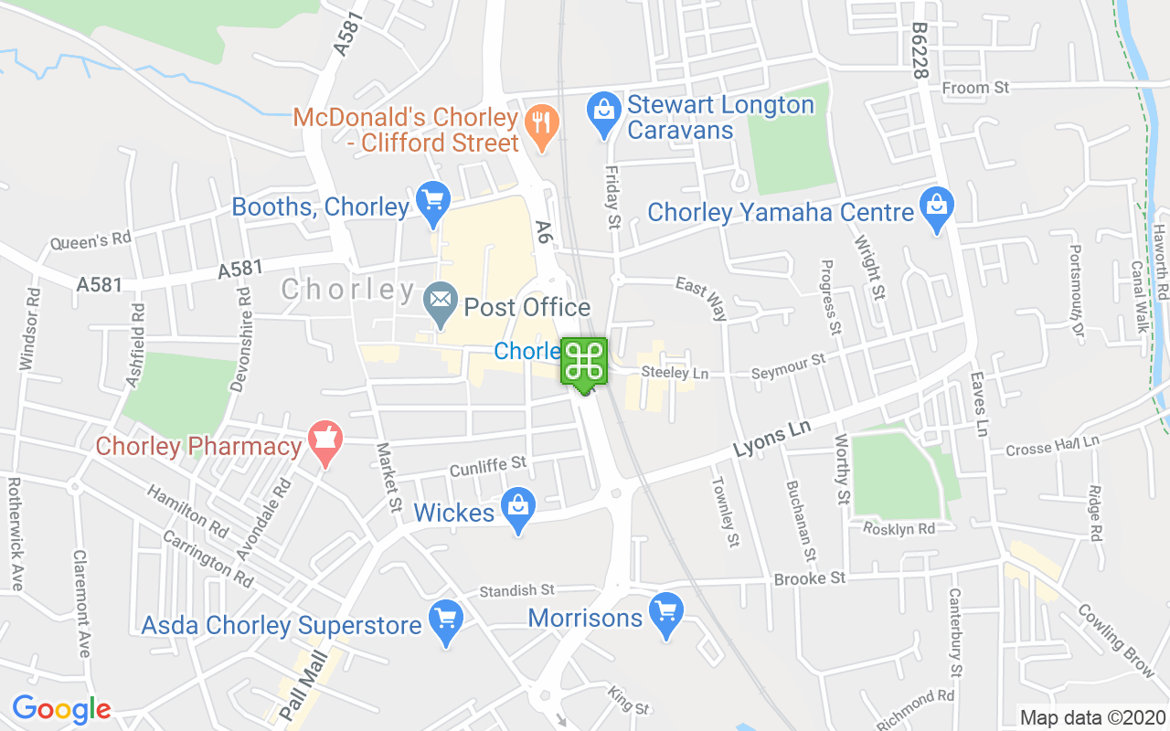 Map showing location of Chorley Train Station