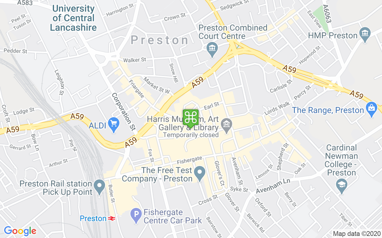 Map showing location of Friargate