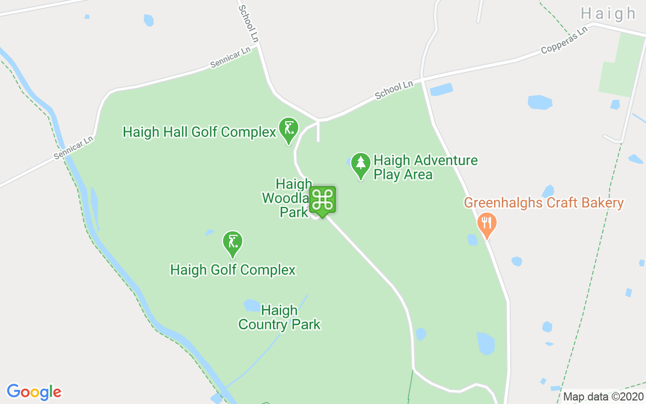 Map showing location of Haigh Woodland Park