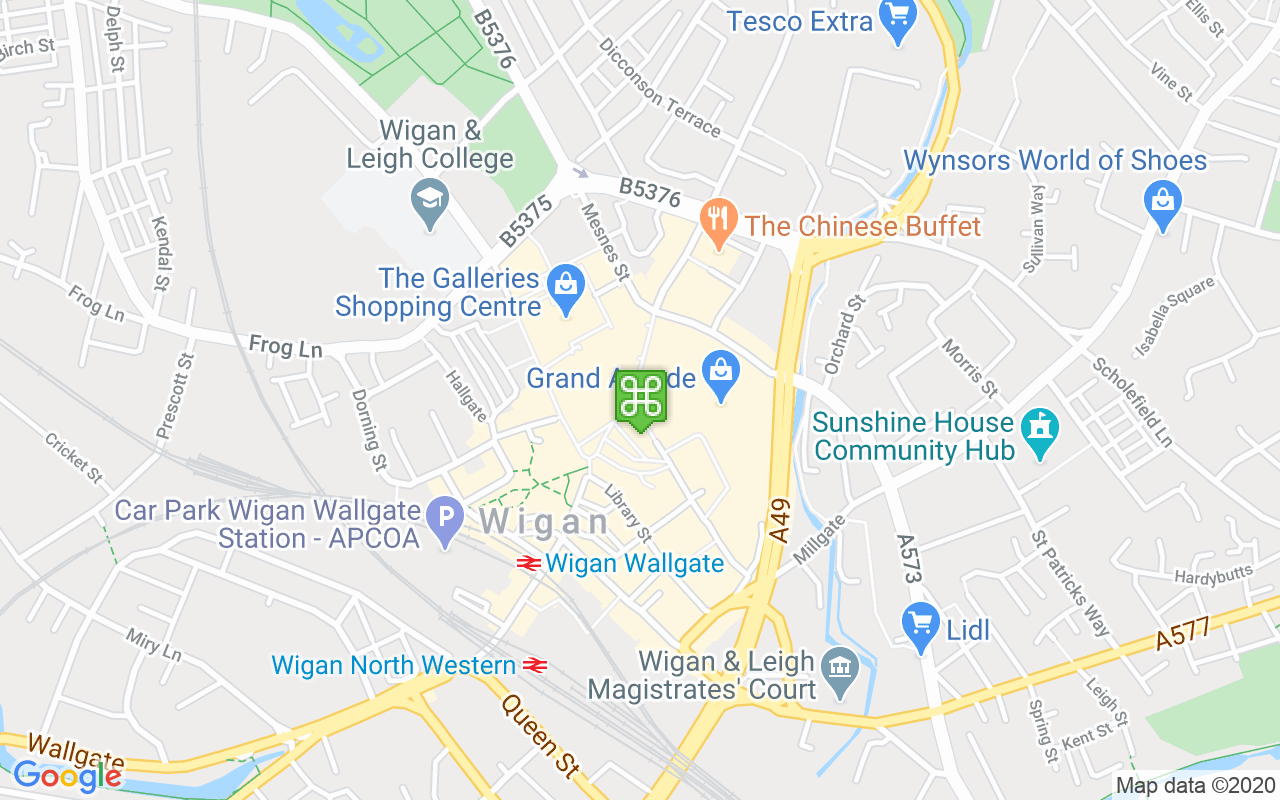 Map showing location of Grand Arcade