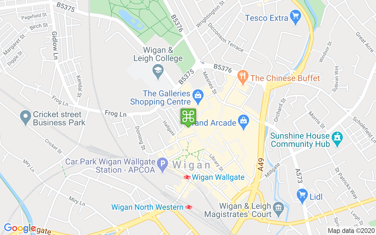 Map showing location of Galleries Shopping Centre