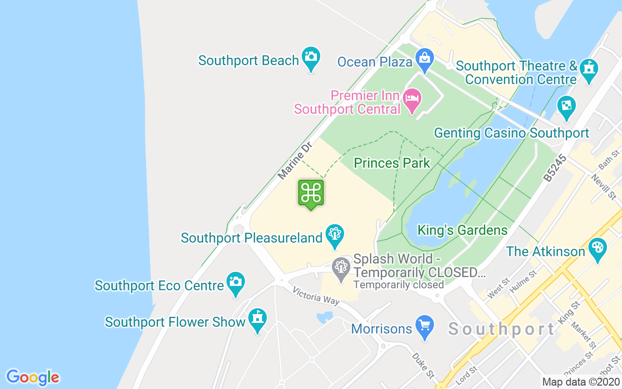 Map showing location of Southport Pleasureland