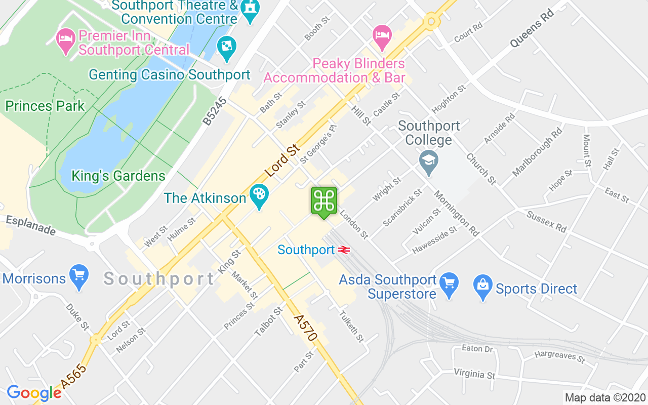 Map showing location of Southport Train Station