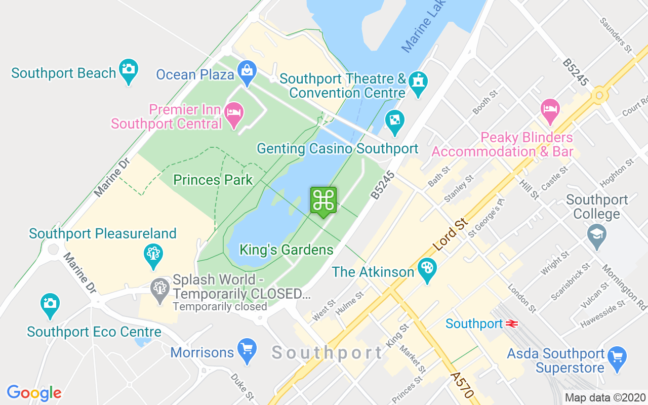 Map showing location of King's Gardens