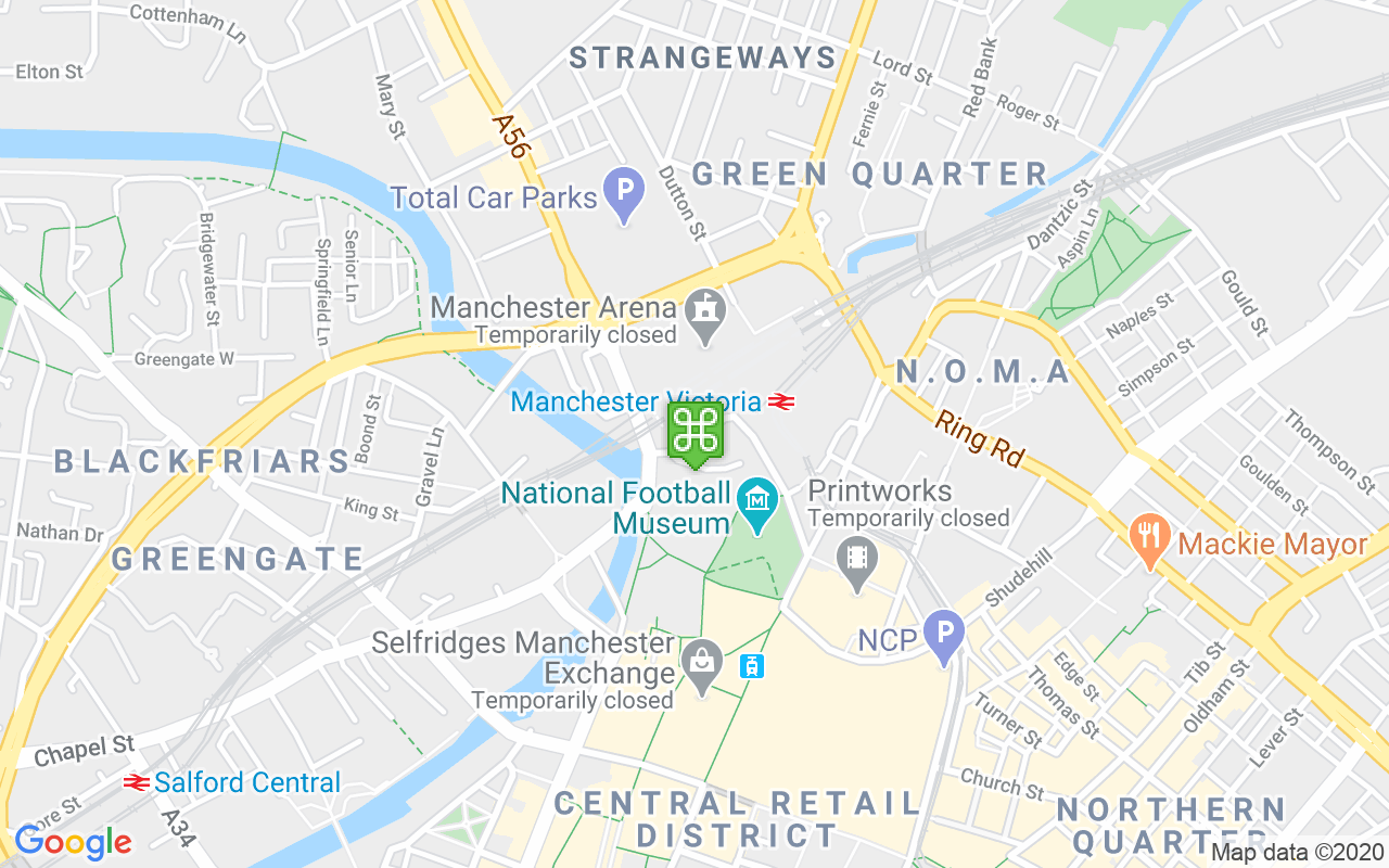 Map showing location of Manchester Arena