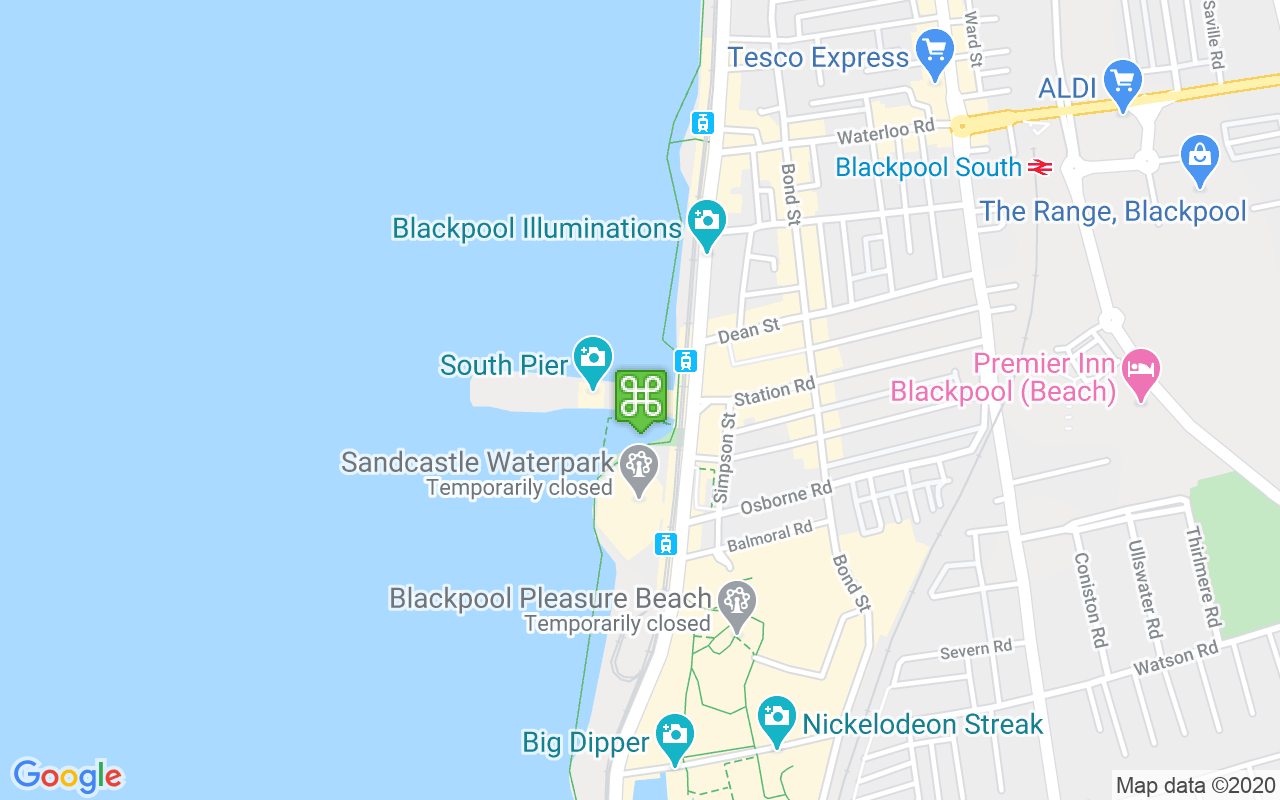Map showing location of South Pier