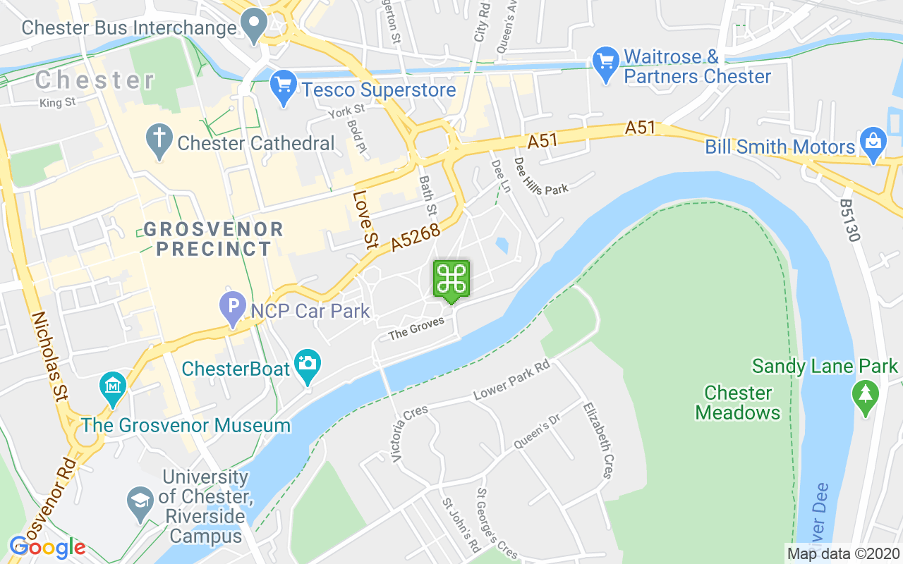 Map showing location of Grosvenor Park