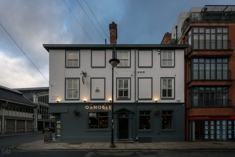 Photo of the Oxnoble, a pub at the corner of Liverpool Road and Duke Street in the Castlefield area of Manchester.