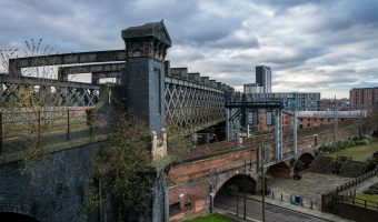 Photo of two railway viaducts in the Castlefield area of Manchester.