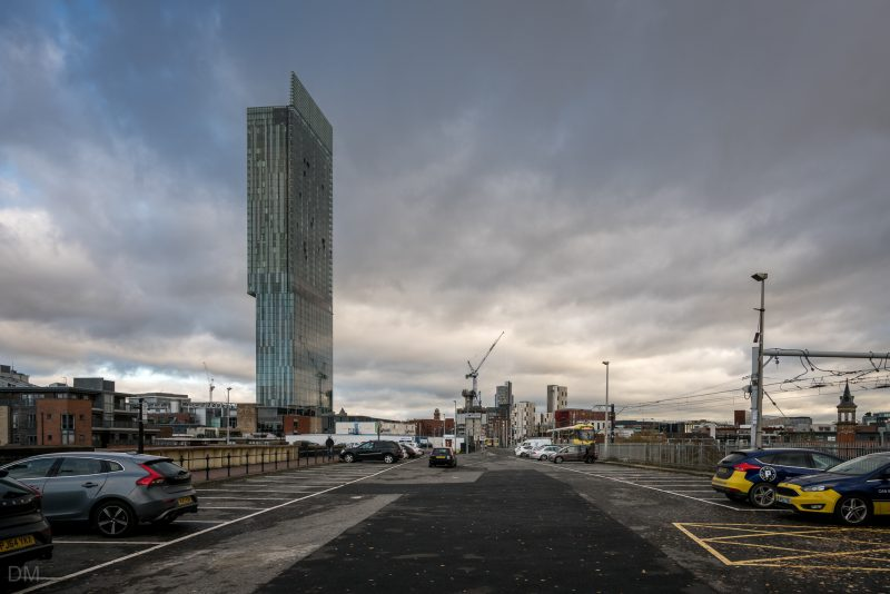 View of the Beetham Tower from the car park near Deansgate-Castlefield Tram Stop.