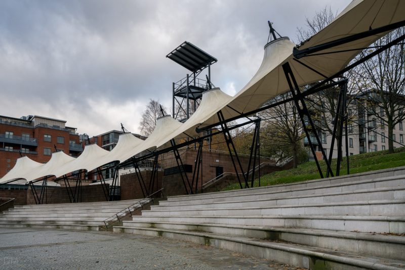 Photo of the Castlefield Bowl, an outdoor arena in the Castlefield area of Manchester.