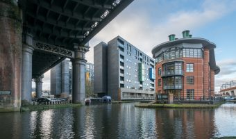 Photo of Potato Wharf in Castlefield, Manchester. Taken from the Castlefield Basin, the junction of the Bridgewater Canal and Rochdale Canal.