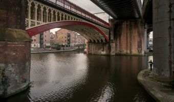 Railway viaducts over the Castlefield Basin in Manchester. This is the junction of the Rochdale Canal and Bridgewater Canal.