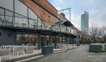 Photograph of Barca, a bar and restaurant in the Castlefield area of Manchester. It opened in 1996 and was previously owned by Mick Hucknall of Simply Red.